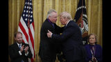 President Donald Trump greets Jon Voight during a National Medal of Arts and National Humanities Medal ceremony in the East Room of the White House, Thursday, Nov. 21, 2019, in Washington. (AP Photo/Alex Brandon)