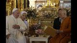 Pope Francis, left, and his cousin, Sister Ana Rosa Sivori visit the Supreme Buddhist Patriarch at Was Ratchabophit Sathit Maha Simaram Temple, Thursday, Nov. 21, 2019, in Bangkok, Thailand. (AP Photo/Gregorio Borgia)