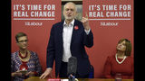 Britain's main opposition Labour Party leader Jeremy Corbyn speaks to supporters at the Pensioner Club in Dudley, England, Thursday, Nov. 21, 2019, as the UK prepares for a General Election on Dec. 12. (AP Photo/Rui Vieira)