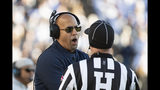 Penn State head coach James Franklin talks with an official in the fourth quarter of an NCAA college football game against Indiana in State College, Pa., on Saturday, Nov.16, 2019. Penn State defeated 34-27. (AP Photo/Barry Reeger)