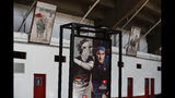 "A poster promoting ""The Greatest Match"" featuring Swiss great Roger Federer and German rival Alexander Zverev is displayed at the Plaza de Toros Mexico bullfighting arena, ahead of their exhibition tennis match, in Mexico City, Friday, Nov. 22, 2019. It will be Federer's first time in Mexico, in a career that has seen him win 20 Grand Slam titles. (AP Photo/Rebecca Blackwell)"