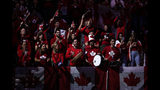 Canada's supporters cheer prior the match of Canada's Vasek Pospisil and Australia's John Millma during the Davis Cup tennis match in Madrid, Spain, Thursday, Nov. 21, 2019. (AP Photo/Manu Fernandez)