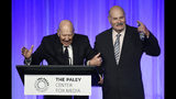 """Honoree Carl Reiner, left, is joined by his son Rob Reiner as he accepts his award at """"The Paley Honors: A Special Tribute to Television's Comedy Legends"""" at the Beverly Wilshire Hotel, Thursday, Nov. 21, 2019, in Beverly Hills, Calif. (Photo by Chris Pizzello/Invision/AP)"""