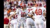 Alabama quarterback Mac Jones (10) greets teammates after an extra point against Auburn during the first half of an NCAA college football game, Saturday, Nov. 30, 2019, in Auburn, Ala. (AP Photo/Vasha Hunt)