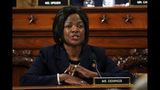 Rep. Val Demings, D-Fla., questions Jennifer Williams, an aide to Vice President Mike Pence, and National Security Council aide Lt. Col. Alexander Vindman, as they testify before the House Intelligence Committee on Capitol Hill in Washington, Tuesday, Nov. 19, 2019, during a public impeachment hearing of President Donald Trump's efforts to tie U.S. aid for Ukraine to investigations of his political opponents. (AP Photo/Jacquelyn Martin, Pool)
