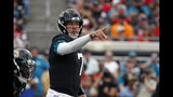 Jacksonville Jaguars quarterback Nick Foles directs signals against the Tampa Bay Buccaneers during the first half of an NFL football game, Sunday, Dec. 1, 2019, in Jacksonville, Fla. (AP Photo/Stephen B. Morton)