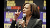 Democratic presidential candidate Sen. Kamala Harris, D-Calif., speaks at a Black Women's Power Breakfast co-hosted by Higher Heights and The Collective PAC at the Westin, Thursday, Nov. 21, 2019, in Atlanta. (Bob Andres/Atlanta Journal-Constitution via AP)
