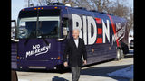 Democratic presidential candidate former Vice President Joe Biden arrives at a stop on his bus tour, Monday, Dec. 2, 2019, in Emmetsburg, Iowa. (AP Photo/Charlie Neibergall)