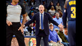 Memphis Grizzlies head coach Taylor Jenkins reacts to a referee's call in the second half of an NBA basketball game against the Indiana Pacers, Monday, Dec. 2, 2019, in Memphis, Tenn. (AP Photo/Brandon Dill)