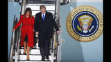 U.S. President Donald Trump and U.S. first lady Melania Trump arrive at Stansted Airport in England, Monday, Dec. 2, 2019. US President Donald Trump will join other NATO heads of state at Buckingham Palace in London on Tuesday to mark the NATO Alliance's 70th birthday. (AP Photo/Frank Augstein)