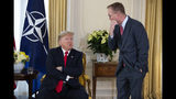 White House chief of staff Mick Mulvaney talks with US President Donald after his meeting with NATO Secretary General Jens Stoltenberg at Winfield House, Tuesday, Dec. 3, 2019, in London. US President Donald Trump will join other NATO heads of state at Buckingham Palace in London on Tuesday to mark the NATO Alliance's 70th birthday. (AP Photo/ Evan Vucci)