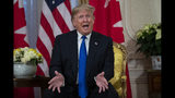President Donald Trump speaks during a meeting with Canadian Prime Minister Justin Trudeau at Winfield House during the NATO summit, Tuesday, Dec. 3, 2019, in London. (AP Photo/ Evan Vucci)