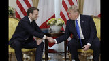 President Donald Trump meets French President Emmanuel Macron at Winfield House, Tuesday, Dec. 3, 2019, in London. (AP Photo/ Evan Vucci)