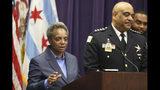 Foto tomada el 7 de noviembre del 2019 de la alcaldesa de Chicago Lori Lightfoot hablando el día en que el jefe policial Eddie Johnson anuncia su retiro. .(AP Photo/Teresa Crawford File)