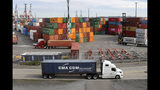 Foto tomada el 2 de octubre del 2019 de contenedores de intercambio comercial en el puerto Harbor Island en Seattle. . (AP Photo/Elaine Thompson)
