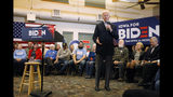 Democratic presidential candidate former U.S. Vice President Joe Biden speaks to local residents during a bus tour stop at Water's Edge Nature Center, Monday, Dec. 2, 2019, in Algona, Iowa. (AP Photo/Charlie Neibergall)