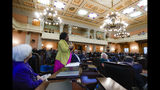 "In this Oct. 30, 2019, photo, Ohio State Representative Stephanie Howse (D), of District 11, speaks during a legislative session at the Ohio Statehouse, in Columbus. ""All of our babies, all of our women, all of our men, people who lose their lives, everybody is worthy of being acknowledged,"" said Howse, who publicly objected to the Legislature's differing treatment of Reagan Tokes and Alianna DeFreeze last year. (AP Photo/John Minchillo)"